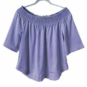 NY&C Smocked Off Shoulder Striped Flowy Top Blue